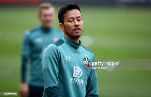 Maya Yoshida looks on during a Southampton FC training session at the Staplewood Campus on January 30 2020 in Southampton England