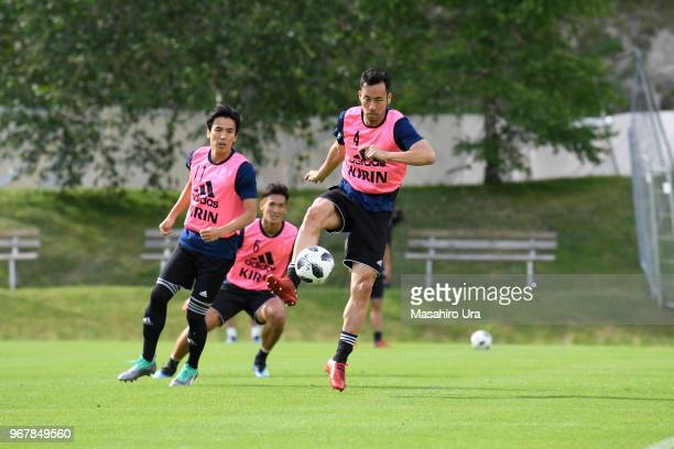 Maya Yoshida Makoto Hasebe and Tomoaki Makino of Japan in action during a training session on June 5 2018 in Seefeld Austria