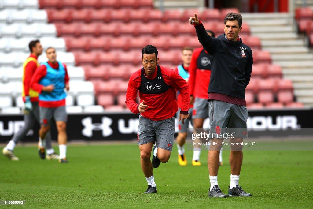 Maya Yoshida (middle) Mauricio Pellegrino (right) during a Southampton FC training session at St Mary's Stadium on September 14, 2017 in Southampton, England.