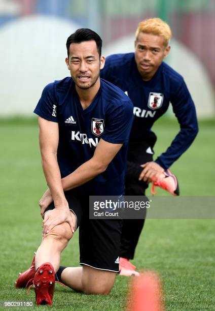 Hisako Princess Takamado meets members of Japan squad during the Japan Training Session on June 21 2018 in Kazan Russia