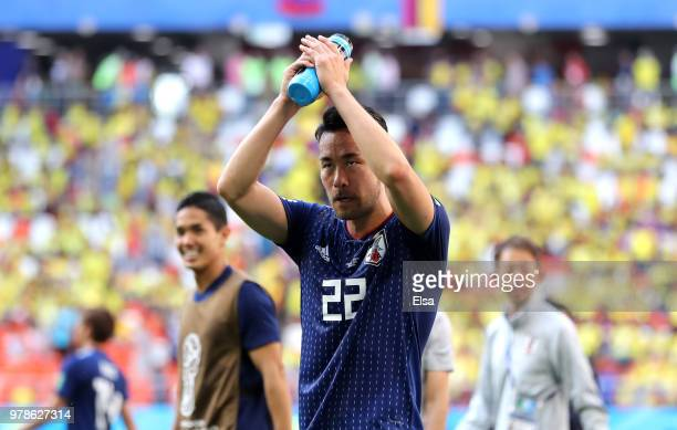 Maya Yoshida of Japan applauds fans after following his sides victory in the 2018 FIFA World Cup Russia group H match between Colombia and Japan at...
