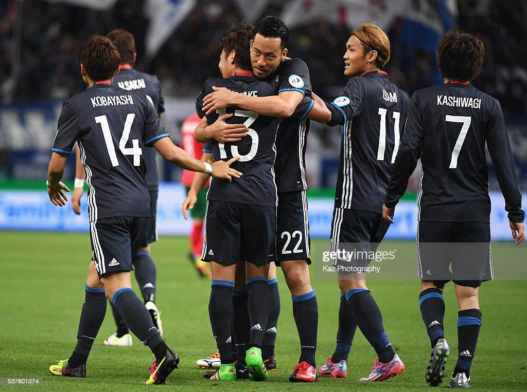 Maya Yoshida (3rd R) of Japan celebrates scoring his team's fifth goal with his team mates during the international friendly match between Japan and Bulgaria at the Toyota Stadium on June 3, 2016 in Toyota, Aichi, Japan.