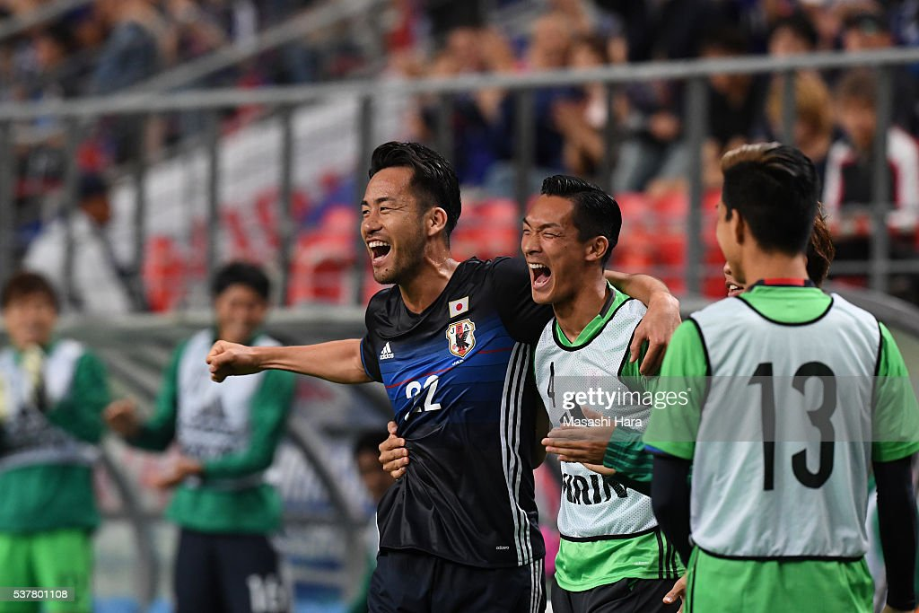 Maya Yoshida #22 of Japan celebrates the fourth goal during the international friendly match between Japan and Bulgaria at the Toyota Stadium on June 3, 2016 in Toyota, Aichi, Japan.