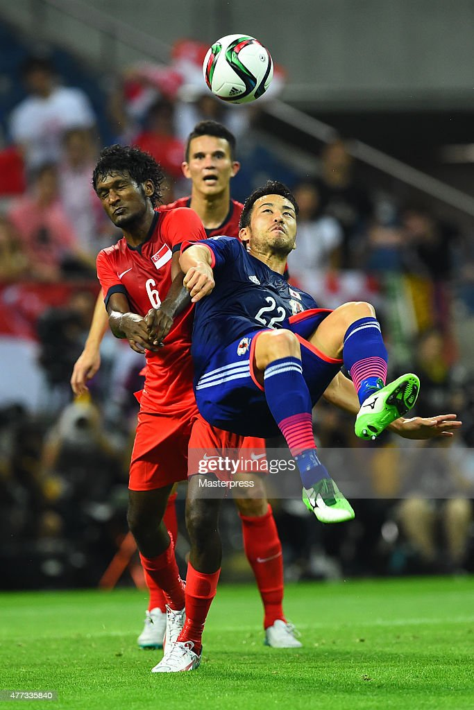 Maya Yoshida of Japan in action during the 2018 FIFA World Cup Asian Qualifier second round match between Japan and Singapore at Saitama Stadium on June 16, 2015 in Saitama, Japan.
