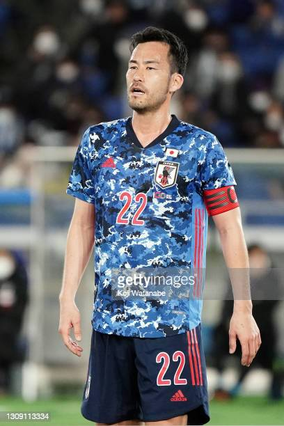 Maya Yoshida of Japan in action during the international friendly match between Japan and South Korea at the Nissan Stadium on March 25, 2021 in...