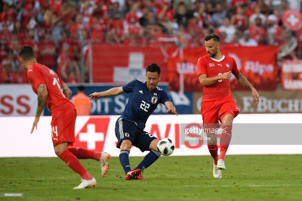Maya Yoshida of Japan in action during the international friendly match between Switzerland and Japan at the Stadium Cornaredo on June 8, 2018 in Lugano, Switzerland.