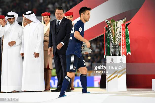 Maya Yoshida of Japan looks on during the medal ceremony following the AFC Asian Cup final match between Japan and Qatar at Zayed Sports City Stadium...