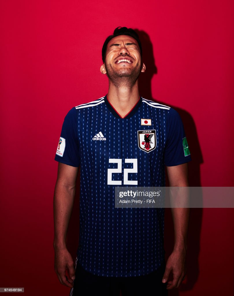 Maya Yoshida of Japan poses for a portrait during the official FIFA World Cup 2018 portrait session at the FC Rubin Training Grounds on June 14, 2018 in Kazan, Russia.