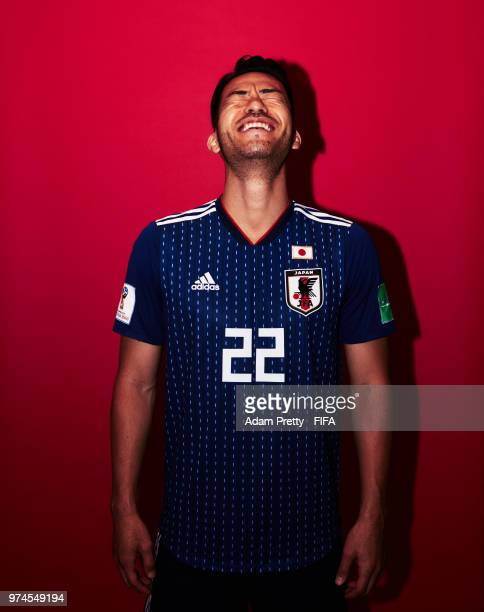 Maya Yoshida of Japan poses for a portrait during the official FIFA World Cup 2018 portrait session at the FC Rubin Training Grounds on June 14, 2018...