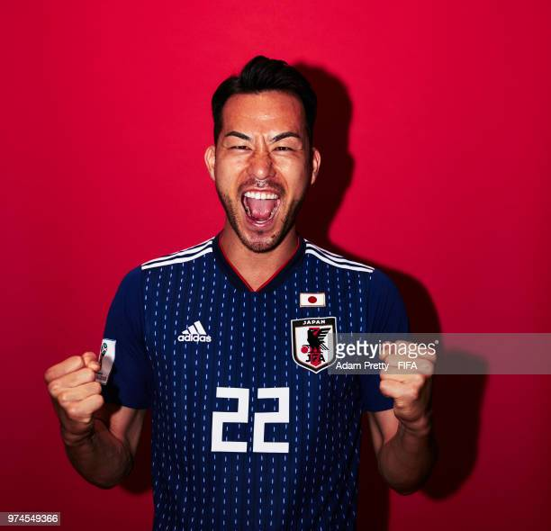 Maya Yoshida of Japan poses for a portrait during the official FIFA World Cup 2018 portrait session at the FC Rubin Training Grounds on June 14 2018...