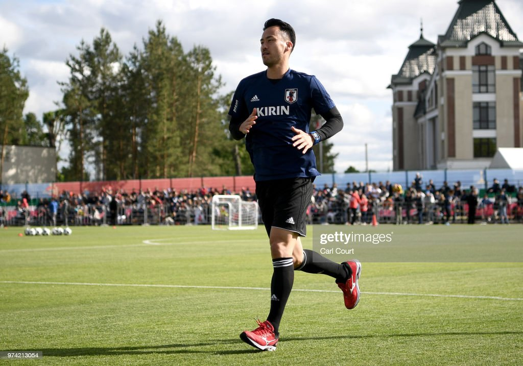 Maya Yoshida of Japan runs on during a Japan training session ahead of the 2018 FIFA World Cup at FC Rubin Kazan Training Ground on June 14, 2018 in Kazan, Russia.