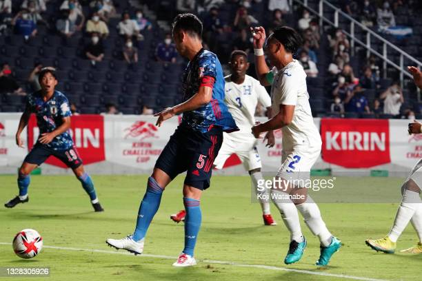 Maya Yoshida of Japan scores his side's first goal during the U-24 international friendly match between Japan and Honduras at the Yodoko Sakura...