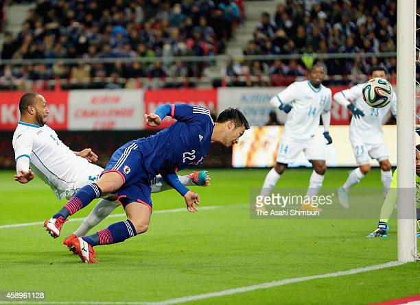 Maya Yoshida of Japan scores his team's first goal during the international friendly match between Japan and Honduras at Toyota Stadium on November...