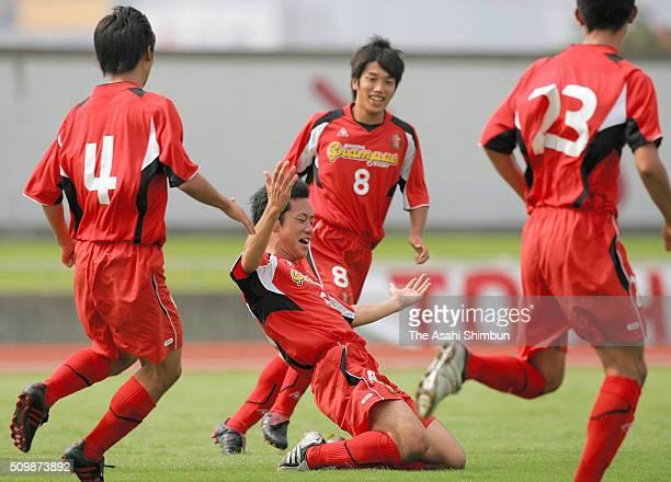 Maya Yoshida of Nagoya Grampus Eight Youth celebrates scoring his team's first goal during the Prince Takamado Cup match between Nagoya Grampus Eight...