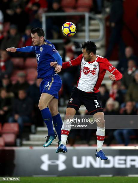 Maya Yoshida of Southampto wins a header over Ben Chilwell of Leicester City during the Premier League match between Southampton and Leicester City...