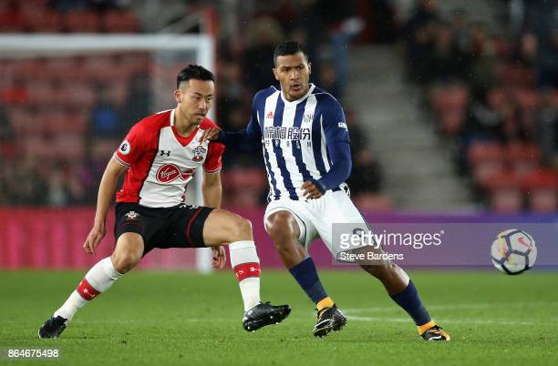 Maya Yoshida of Southampton and Jose Salomon Rondon of West Bromwich Albion in action during the Premier League match between Southampton and West...