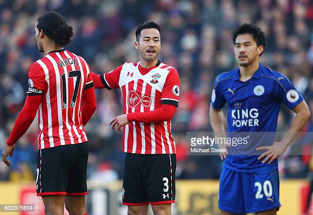 Maya Yoshida of Southampton and Shinji Okazaki of Leicester City are seen during the Premier League match between Southampton and Leicester City at...