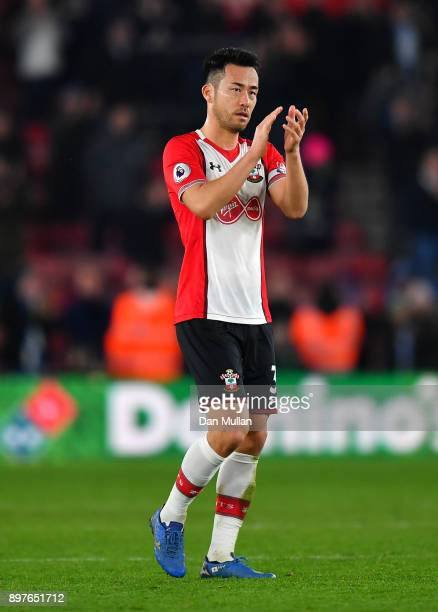 Maya Yoshida of Southampton applauds fans after the Premier League match between Southampton and Huddersfield Town at St Mary's Stadium on December...