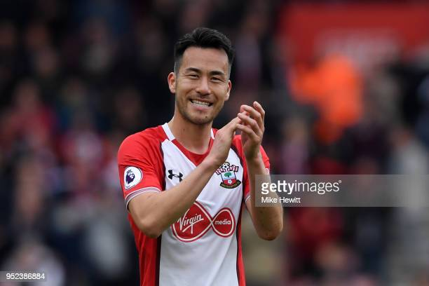 Maya Yoshida of Southampton applauds fans after the Premier League match between Southampton and AFC Bournemouth at St Mary's Stadium on April 28...