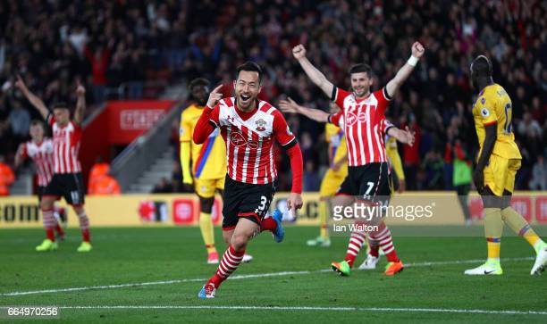 Maya Yoshida of Southampton celebrates scoring his sides second goal during the Premier League match between Southampton and Crystal Palace at St...