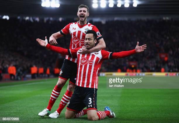 Maya Yoshida of Southampton celebrates scoring his sides second goal with Jack Stephens of Southampton during the Premier League match between...