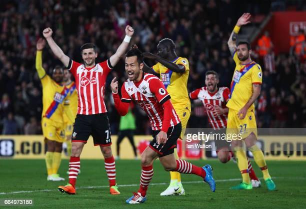 Maya Yoshida of Southampton celebrates scoring his sides second goal during the Premier League match between Southampton and Crystal Palace at St...
