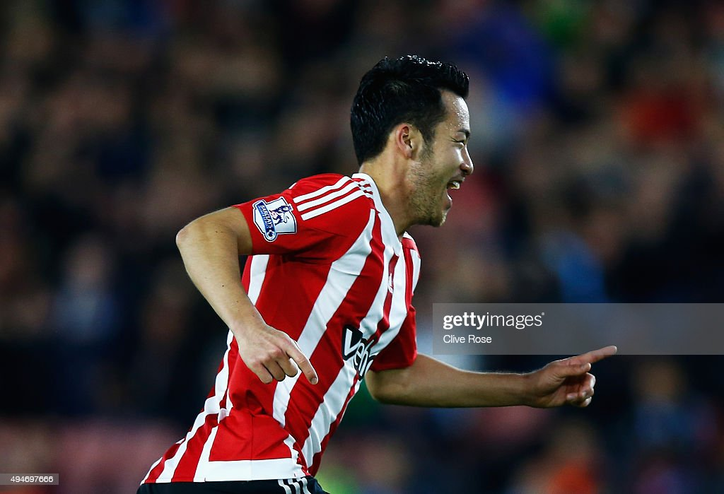 Maya Yoshida of Southampton celebrates scoring the opening goal during the Capital One Cup Fourth Round match between Southampton and Aston Villa at St Mary's Stadium on October 28, 2015 in Southampton, England.