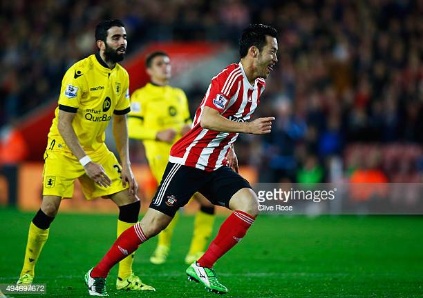 Maya Yoshida of Southampton celebrates scoring the opening goal during the Capital One Cup Fourth Round match between Southampton and Aston Villa at...