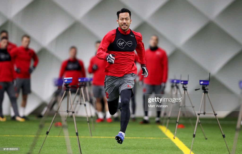 Maya Yoshida of Southampton FC during a training session at the Staplewood Campus on February 8, 2018 in Southampton, England.