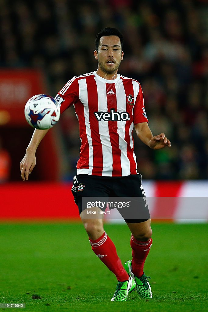 Maya Yoshida of Southampton in action during the Capital One Cup Fourth Round match between Southampton v Aston Villa at St Mary's Stadium on October 28, 2015 in Southampton, England.