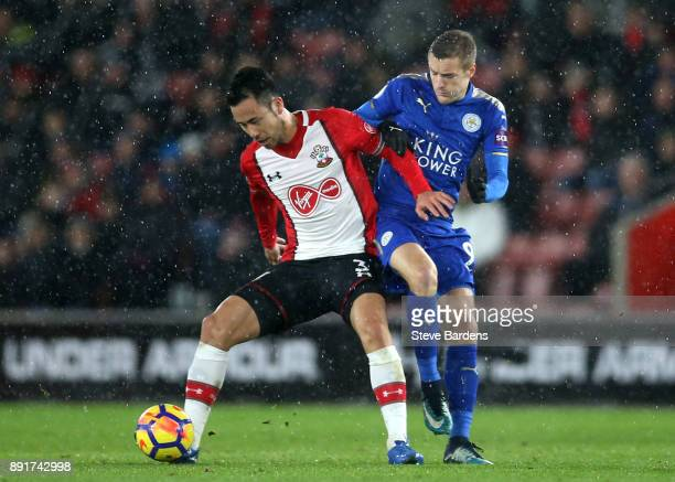 Maya Yoshida of Southampton is challenged by Jamie Vardy of Leicester City during the Premier League match between Southampton and Leicester City at...