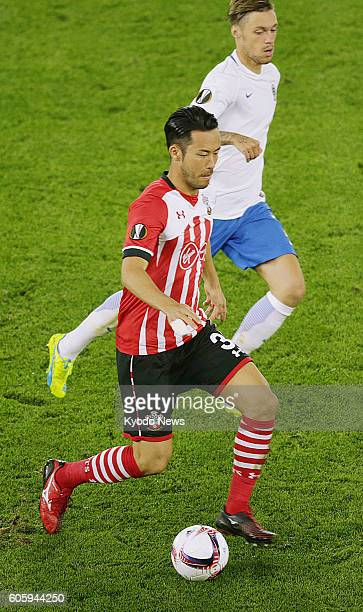 Maya Yoshida of Southampton is seen in action during the first half of a Europa League match against AC Sparta Prague in Southampton England on Sept...