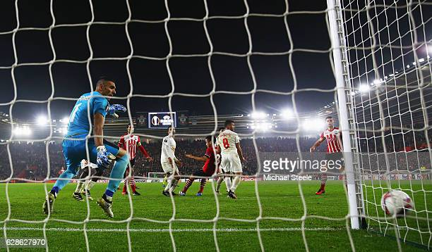 Maya Yoshida of Southampton misses a late chance as goalkeeper David Goresh of Hapoel Be'er Sheva looks on during the UEFA Europa League Group K...