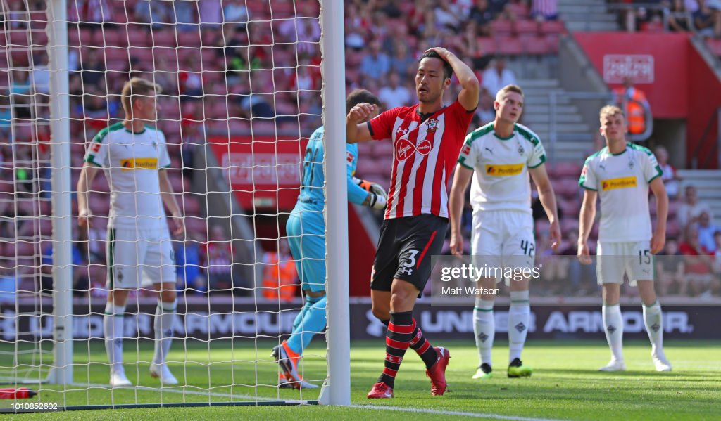 Maya Yoshida of Southampton reacts after heading over during the pre-season friendly match between Southampton and Borussia Monchengladbach at St Mary's Stadium on August 4, 2018 in Southampton, England.