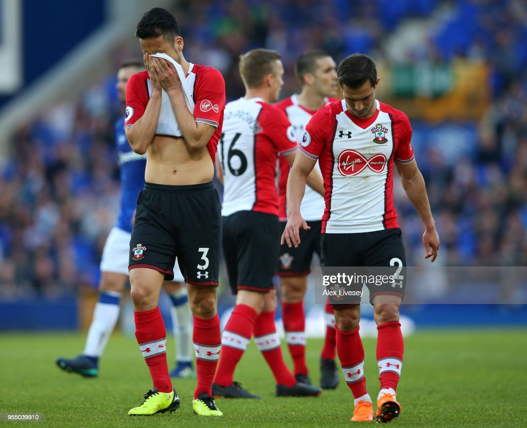 Maya Yoshida of Southampton reacts after recieving his second yellow which leads to him being sent off during the Premier League match between Everton and Southampton at Goodison Park on May 5, 2018 in Liverpool, England.