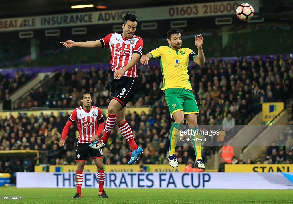 Maya Yoshida of Southampton scores his sides second goal during the Emirates FA Cup Third Round match between Norwich City and Southampton at Carrow Road on January 7, 2017 in Norwich, England.