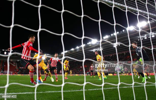 Maya Yoshida of Southampton scores his sides second goal during the Premier League match between Southampton and Crystal Palace at St Mary's Stadium...