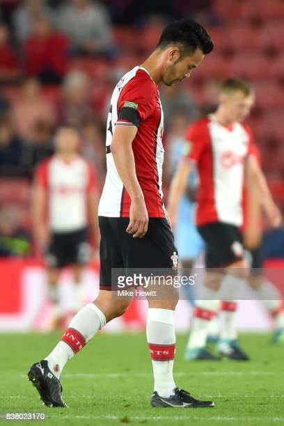 Maya Yoshida of Southampton walks off dejected after the Carabao Cup Second Round match between Southampton and Wolverhampton Wanderers at St Mary's...