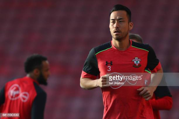 Maya Yoshida of Southampton warms up prior to the Premier League match between Southampton and Arsenal at St Mary's Stadium on May 10 2017 in...
