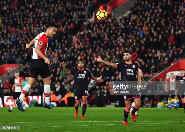 Maya Yoshida of Southampton wins a header during the Premier League match between Southampton and Huddersfield Town at St Mary's Stadium on December...