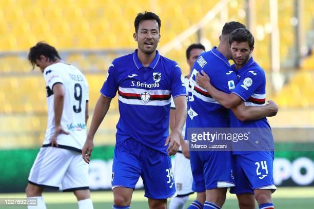 Maya Yoshida of UC Sampdoria celebrates a victory at the and of the Serie A match between Parma Calcio and UC Sampdoria at Stadio Ennio Tardini on...