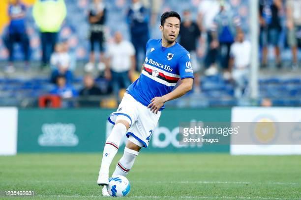 Maya Yoshida of UC Sampdoria controls the ball during the Serie A match between UC Sampdoria and SSC Napoli at Stadio Luigi Ferraris on September 23,...