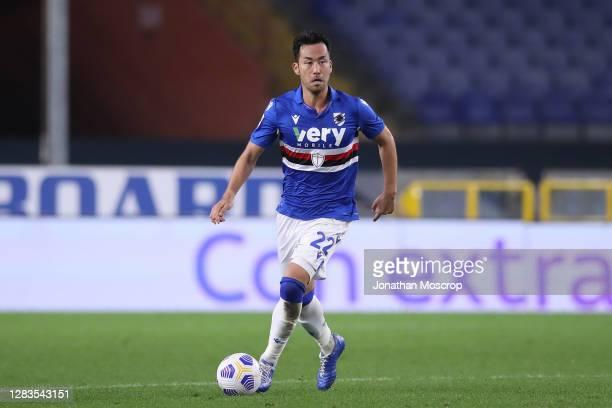 Maya Yoshida of UC Sampdoria during the Serie A match between UC Sampdoria and Genoa CFC at Stadio Luigi Ferraris on November 01, 2020 in Genoa,...