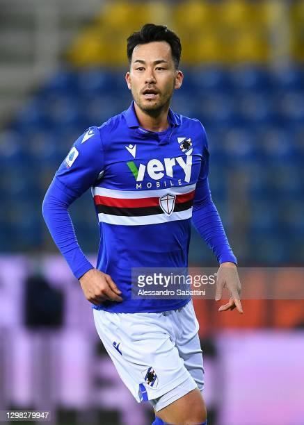 Maya Yoshida of US Sampdoria reacts during the Serie A match between Parma Calcio and UC Sampdoria at Stadio Ennio Tardini on January 24, 2021 in...