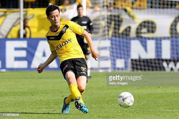 Maya Yoshida of Venlo plays the ball during the Dutch Eredivise Play Off Final Second Leg match between VVV Venlo and FC Zwolle at Seacon Stadion de...