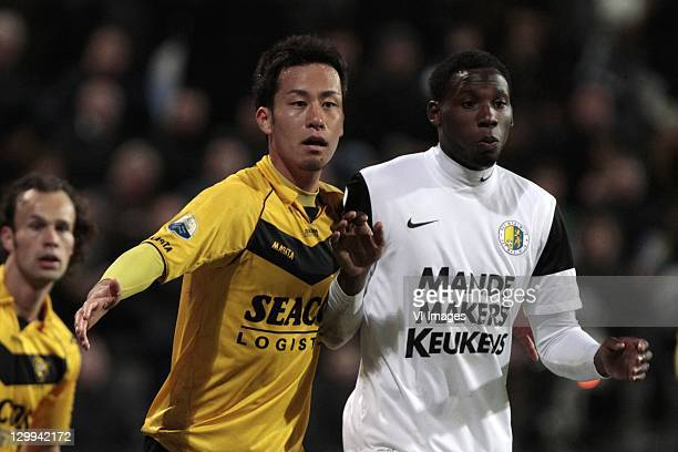 Maya Yoshida of VVV Venlo competes with Geoffrey Castillion of RKC Waalwijk during the Eredivisie match between VVVVenlo and RKC Waalwijk at the...