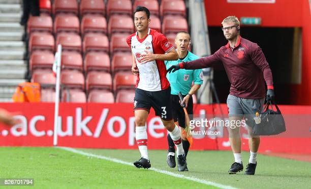 Maya Yoshida returns to the pitch during the preseason friendly between Southampton FC and Sevilla at St Mary's Stadium on August 5 2017 in...