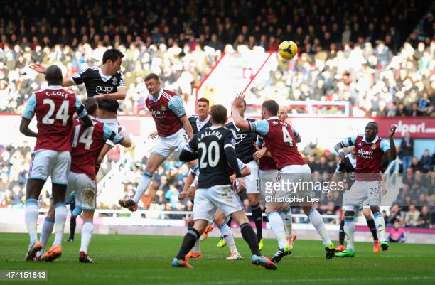 Maya Yoshida scores the opening goal during the Barclays Premier League match between West Ham United and Southampton at Boleyn Ground on February 22...