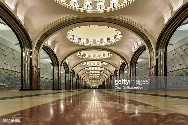 mayakovskaya moscow metro station , russia - art deco stock pictures, royalty-free photos & images