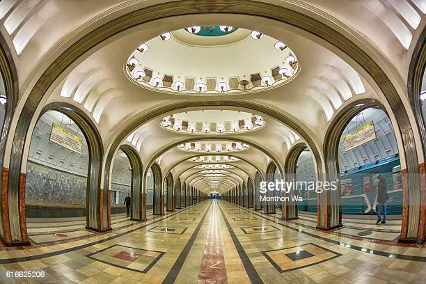 mayakovskaya moscow metro station , russia - moscow russia stock pictures, royalty-free photos & images